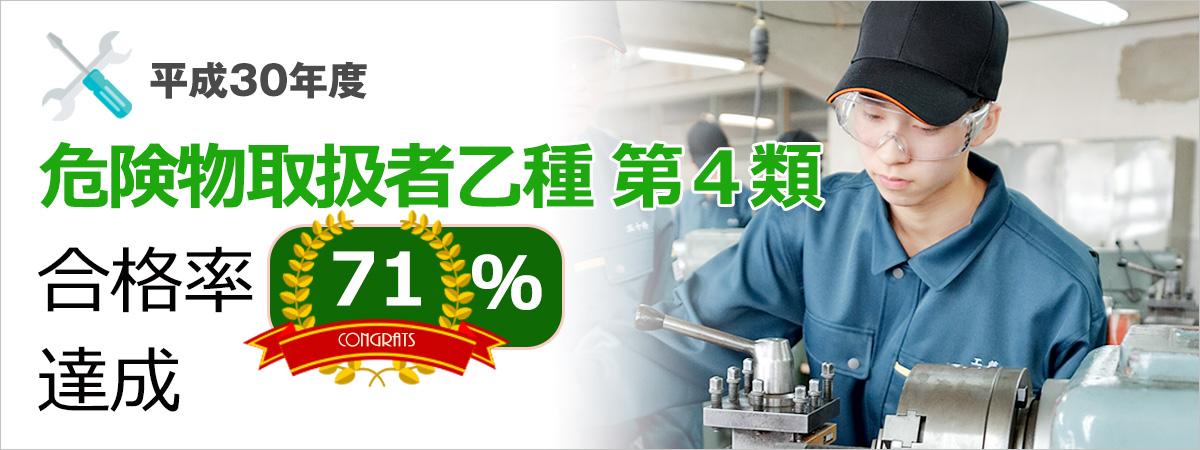 平成30年度 危険物取扱者乙種 第4類 合格率71%達成